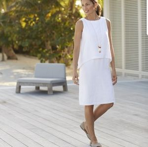 J.jill pure jill tiered linen dress in white